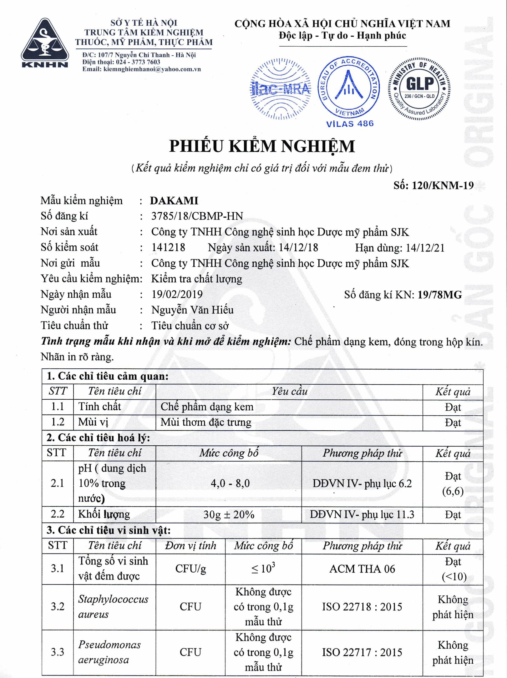 Kem Dakami chống lạo hóa xóa mờ nếp nhăn kiểm định chất lượng bởi sở Y tế