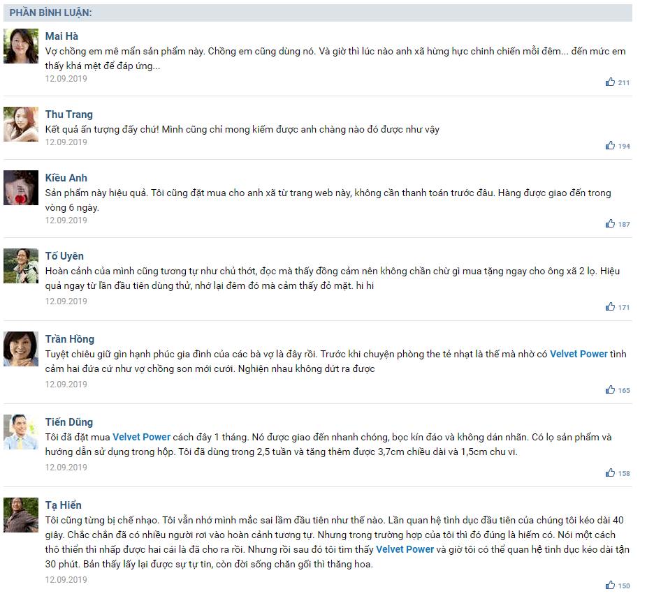 Velvet Power đánh giá từ người dùng