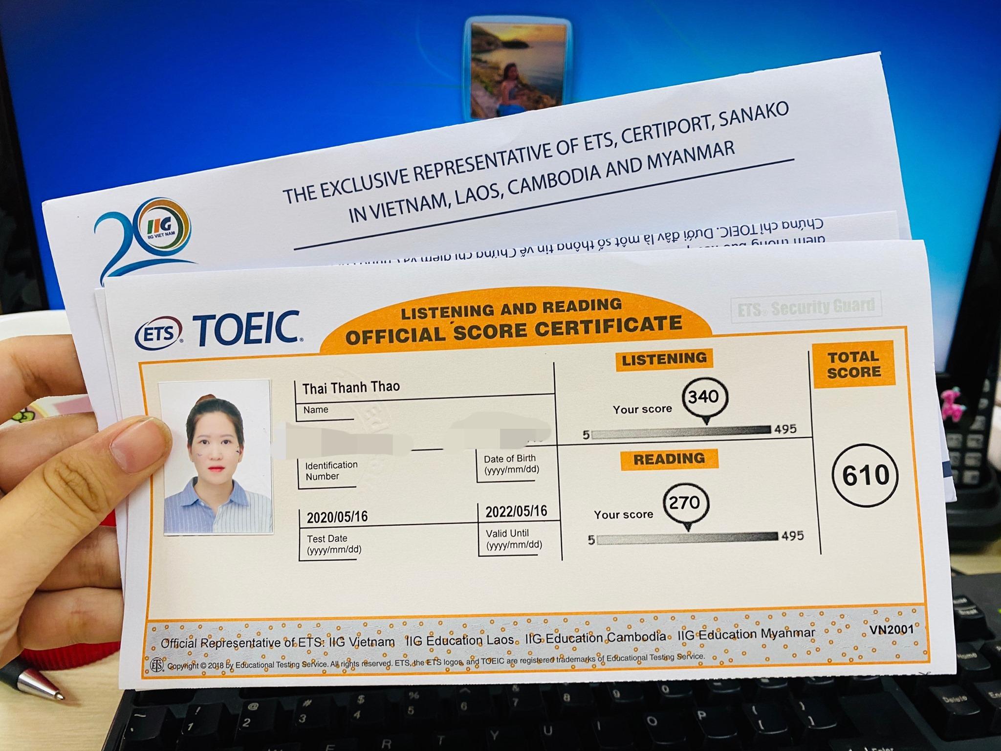 Kinh nghiệm luyện thi TOEIC 600+ tự học trong 1 tháng của bạn Thanh Thảo