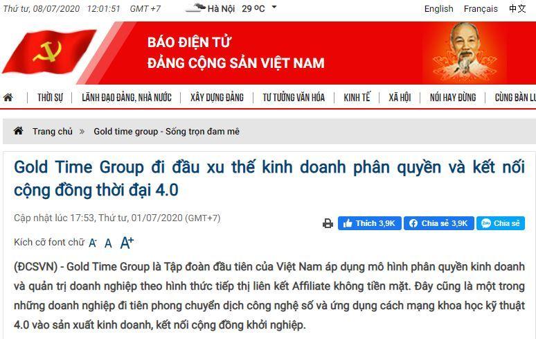 Báo Điện Tử Đảng Cộng Sản Việt Nam nói về Golden Time Group JSC