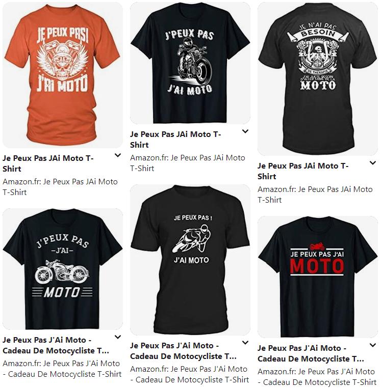 """Je Peux Pas J'Ai Moto """"Motocycliste"""" T-Shirt 1"""